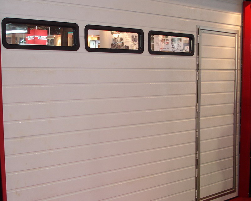 garage door with black windows